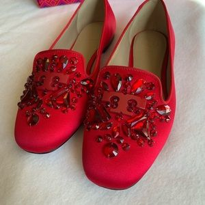 NWOT Tory Burch Red Delphine Satin Flats